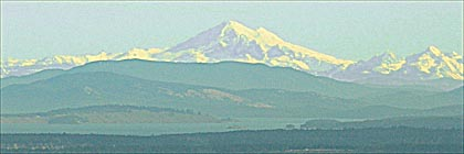 Mount Baker USA and the Gulf Islands from the Malahat veiwpoint Vancouver Island BC